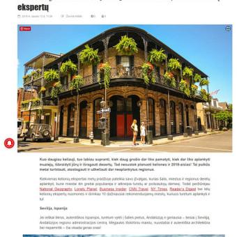 Straipsnis apie metų kelionių tendencijas.  Paskelbtas: https://miestonaujienos.lt/10-miestu-kuriuos-turi-aplankyti-2018-metais-anot-kelioniu-ekspertu/