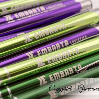 Reklaminiai kokybiški graviruoti tušinukai su logotipu. Metaliniai įvairių spalvų tušinukai su įmonės logotipu. Galima rinktis įvairių spalvų miksą.