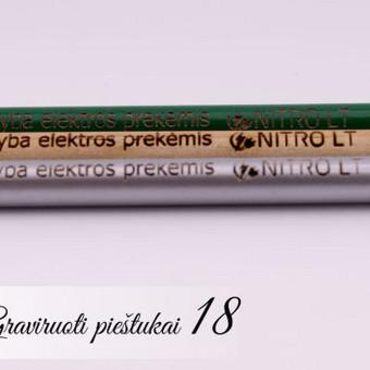 Firminiai UAB Nitro LT pieštukai su logotipu ir šūkiu. Mediniai graviruoti pieštukai su įmonės logotipu ir tekstu.
