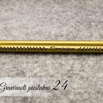 Graviruoti auksiniai pieštukai su vardu. Personalizuoti pieštukai. Pieštukai su logotipu.