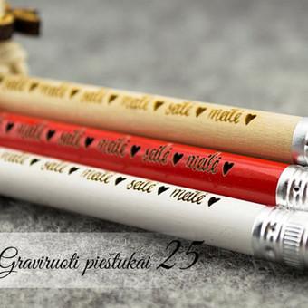 """Valentino dienos dovana - pieštukai """"meilė-seilė"""". Graviruotų pieštukų rinkinys."""