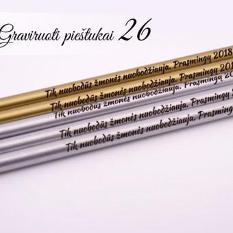 Pieštukai - linkėjimai. Originalus atvirutės variantas. Pieštukai su tekstu. Pieštukai su logotipu.