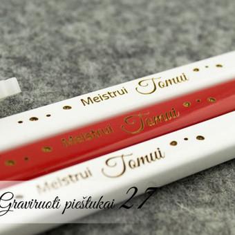 Staliaus pieštukai - asmeninė dovana meistraujamčiam vyrui ar nagingai draugei. Dovana vyrui. Graviruoti piestukai. Pieštukai su tekstu.