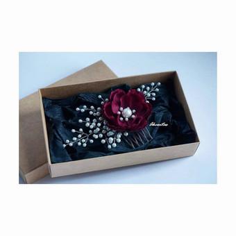 Plaukų aksesuaras - segė / smeigtukas / segtukas / šukytės / gėlė į plaukus / bordo, marsala, tamsi raudona, raudono vyno spalva